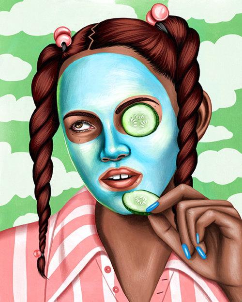 Ilustração do retrato de menina em maquiagem