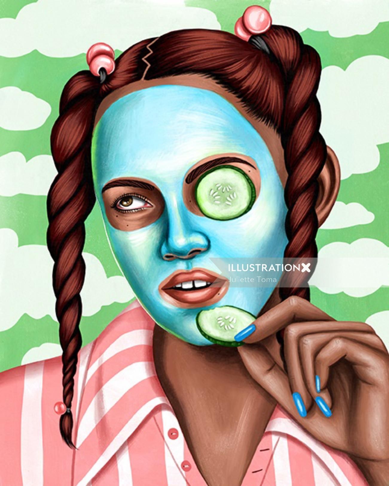 Portrait illustration of girl on makeup