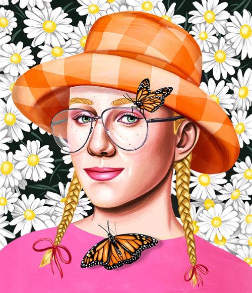Ilustração de retrato de Justin Gillett