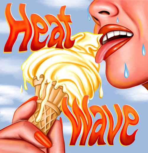 Realistic art of woman eating ice cream