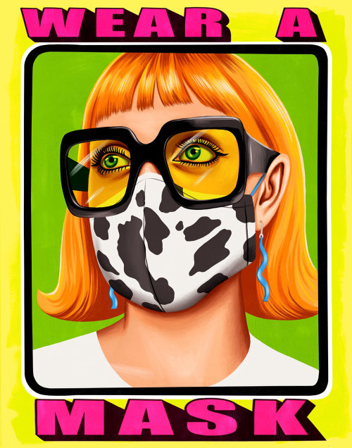 Portraiture of woman wearing a mask