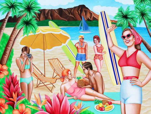 Acrylic painting of people enjoying at beach