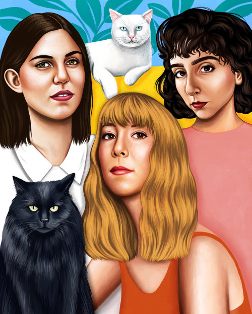 Portraiture of three friends and their cats