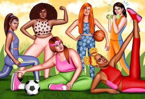 Photorealistic art of women doing exercise