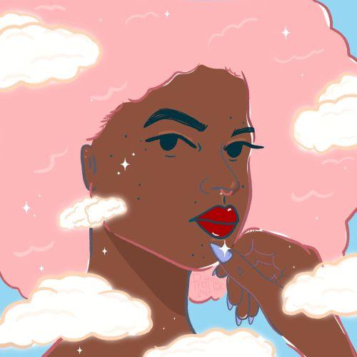 Beautiful girl pop illustration