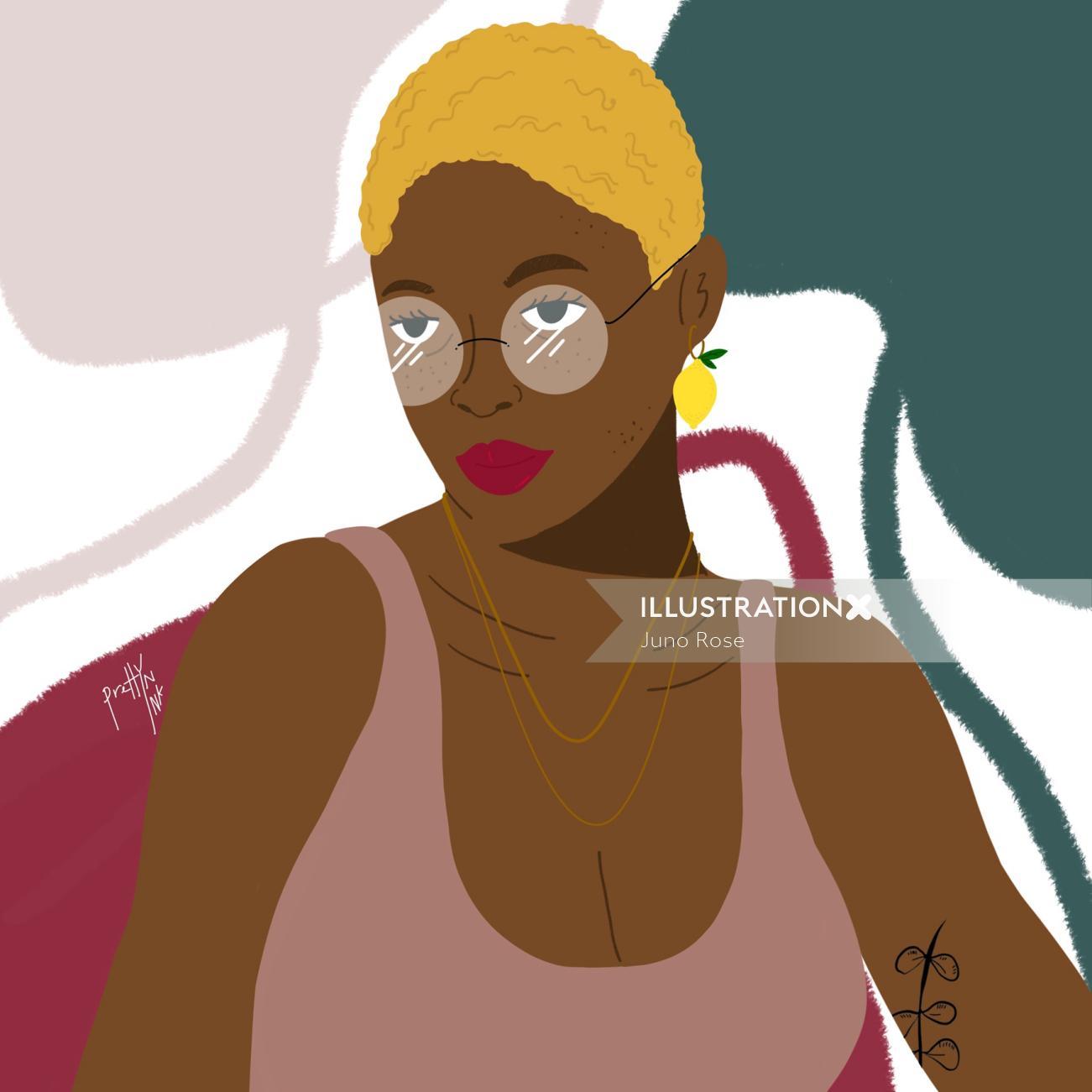 black woman with short hair portrait