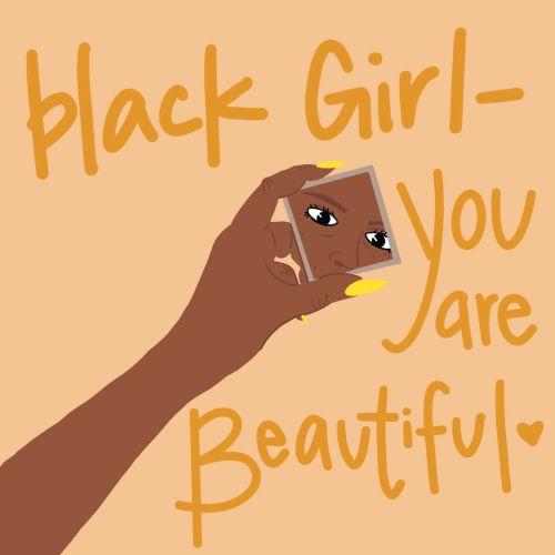 Beautiful black girl illustration
