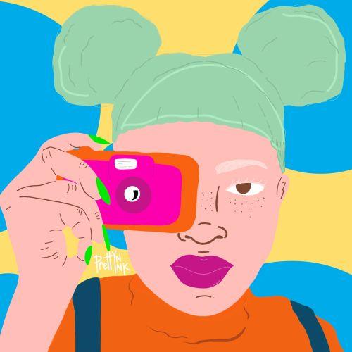 Girl taking a photo pop art