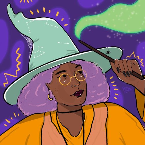 Female Magician portrait illustration