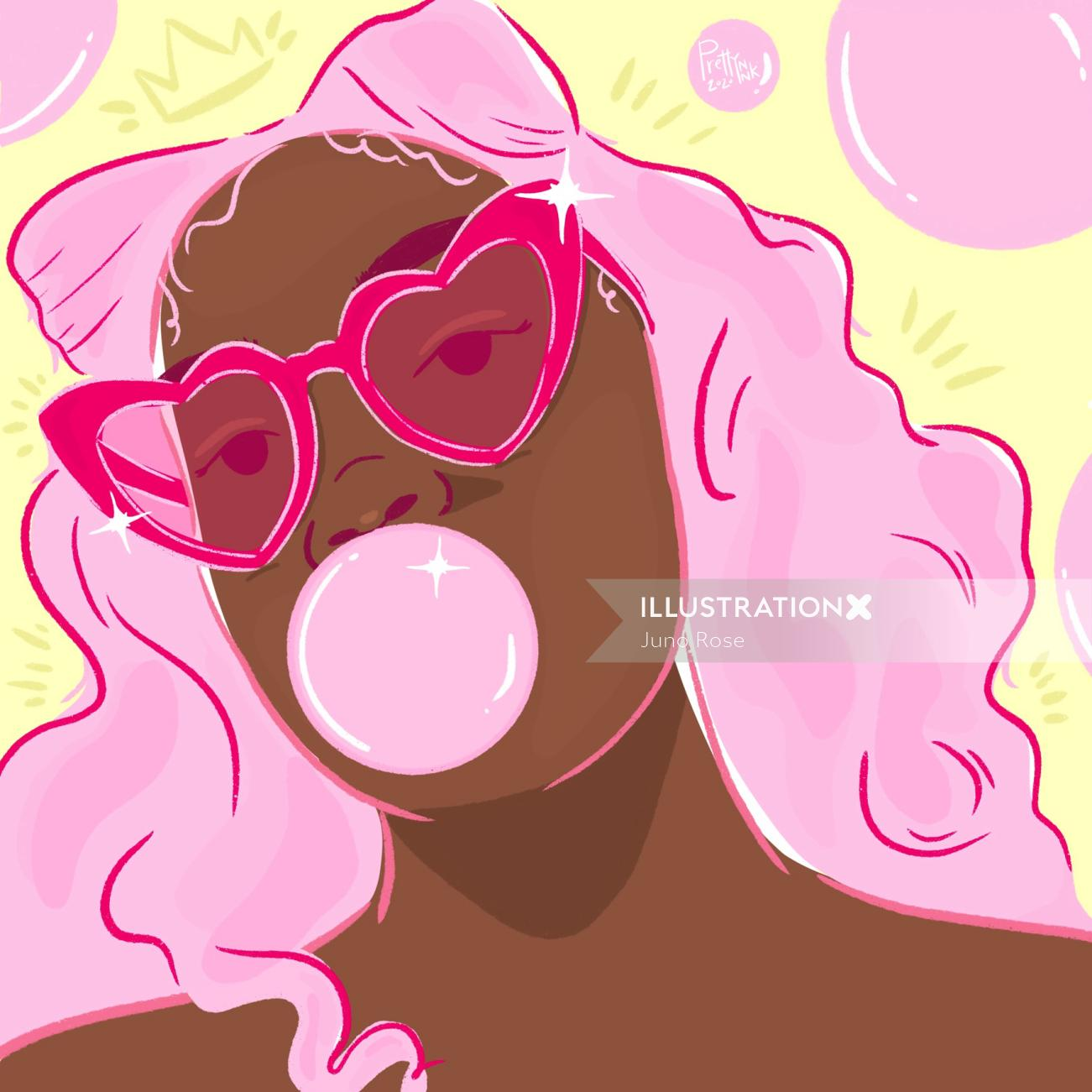 Bubblegum girl portrait