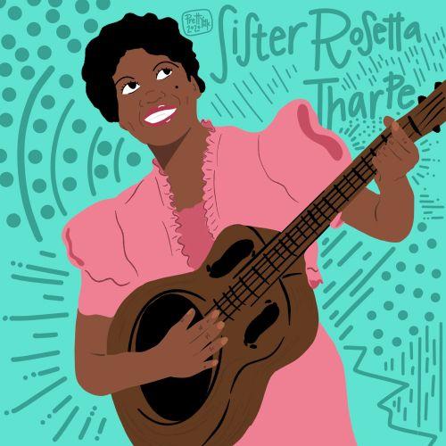 Portraiture of Sister Rosetta Tharpe, American singer