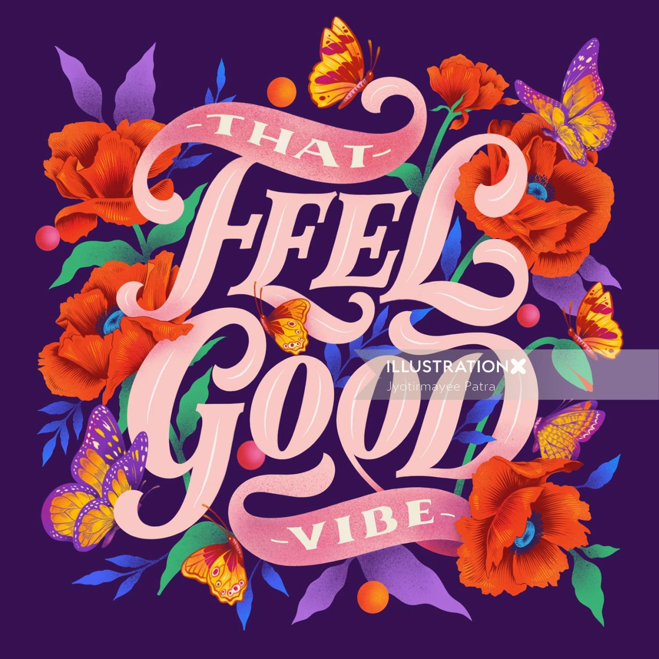 Whimsical illustration for the Valentine's Day for all about that feel good vibe