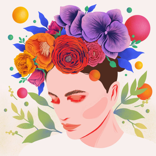 Graphic illustration of floral crown with vibrant colours & whimsical