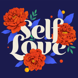 Self love inspirational hand drawn lettering