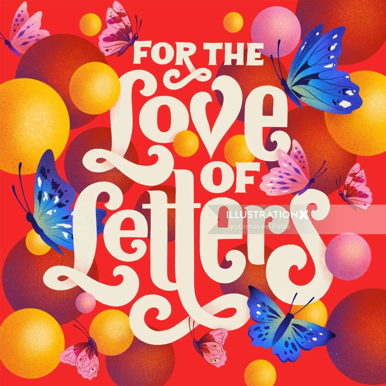 Digital illustration 'For the Love of Letters'