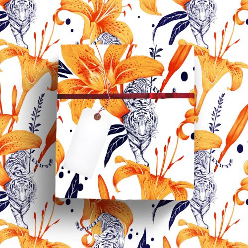 Floral illustration with tigerly pattern