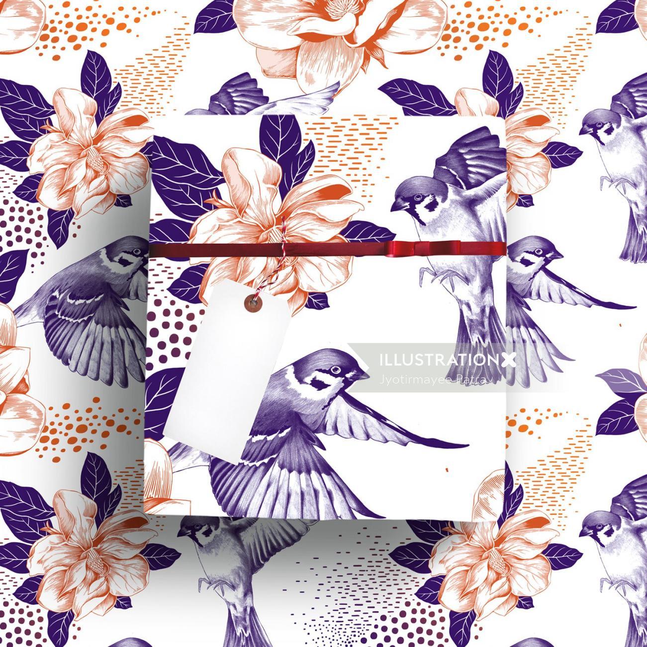 Spring & Magnolias combined botanical pattern illustration