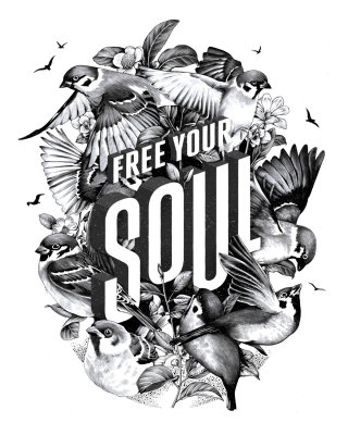Free your soul hand-lettered art piece from the series 'Art of Living'.