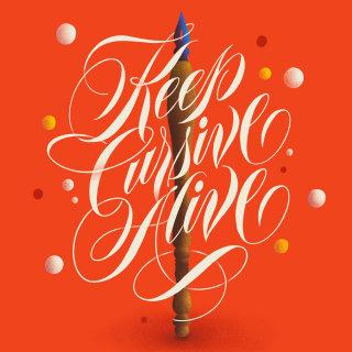 Keep cursive alive typograpghy digital artwork