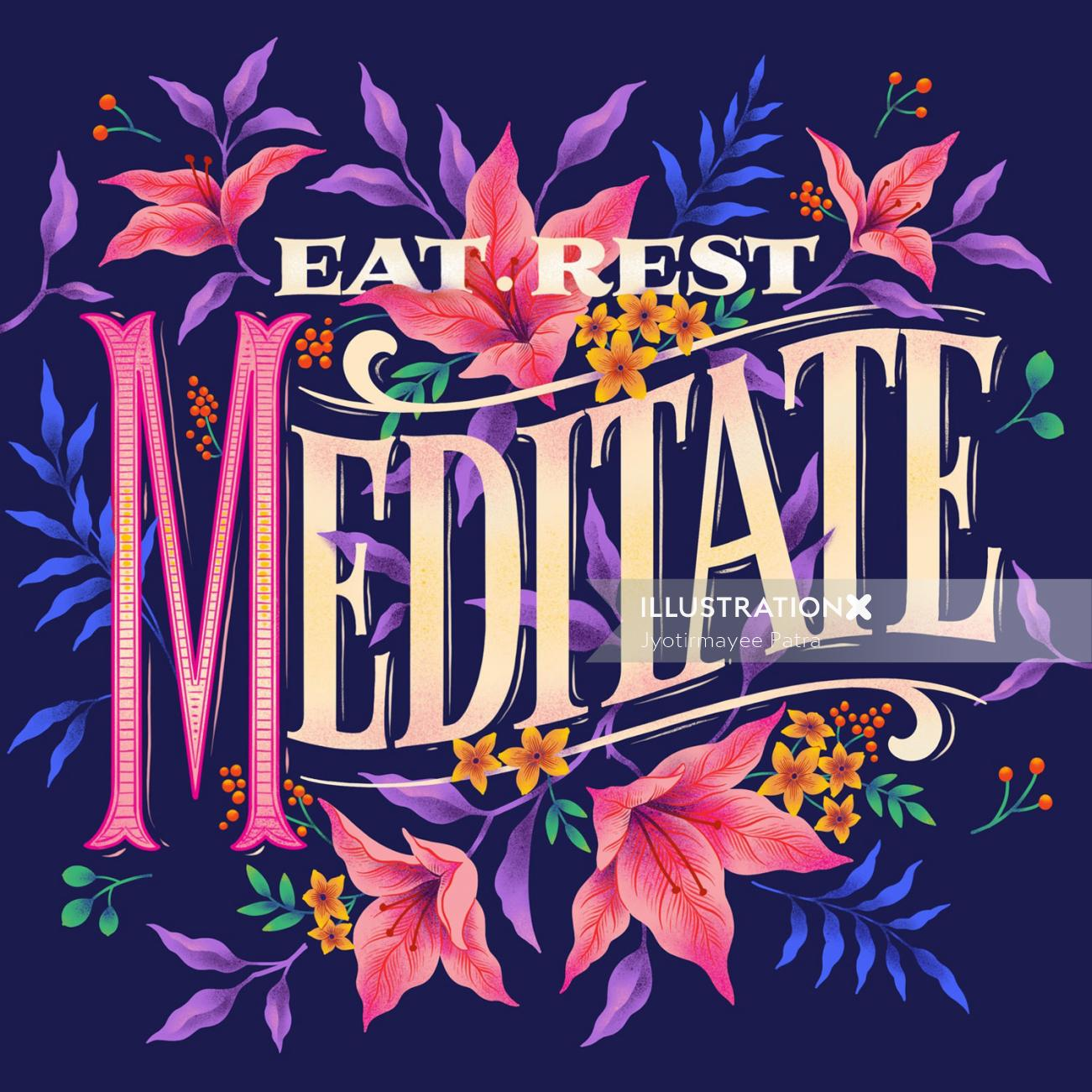 Digital illustration of lettering eat, rest, meditate