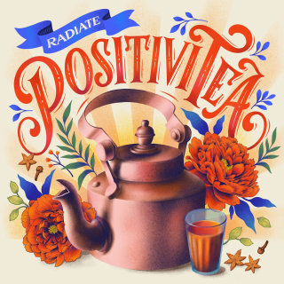 A cup and kettle lettering theme Positivi Tea