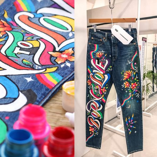 Graphic art on trousers
