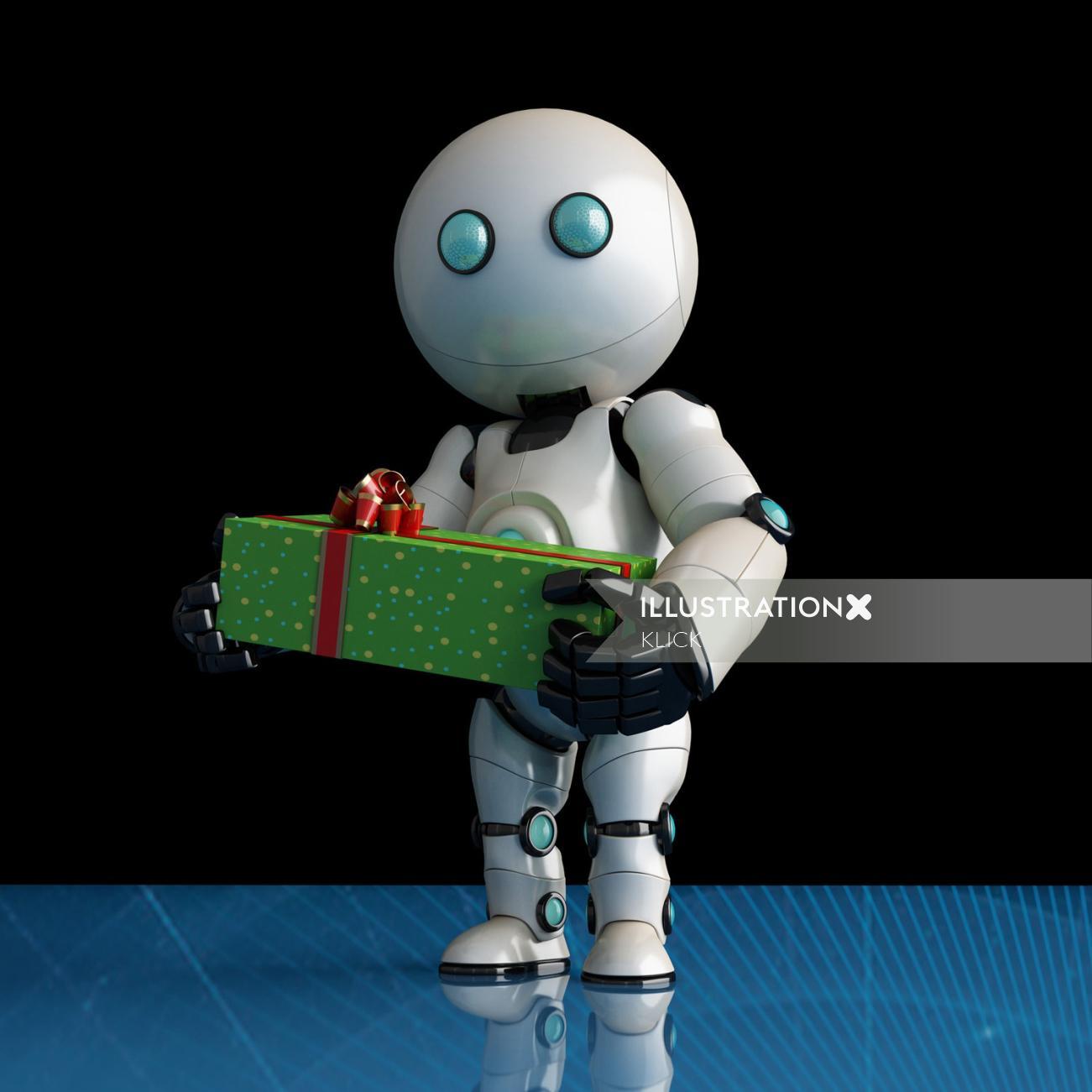 Graphic design of cute robot