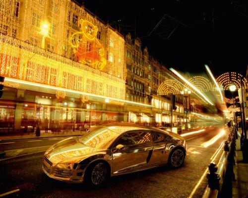 3d illustration of gold audi car