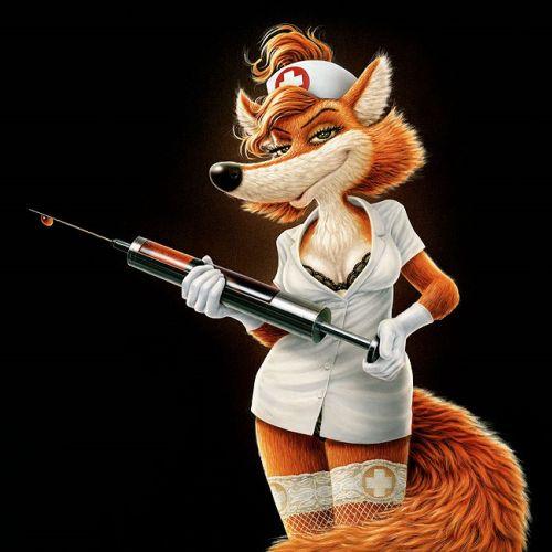 Cartoon & Humour sexy fox as a nurse