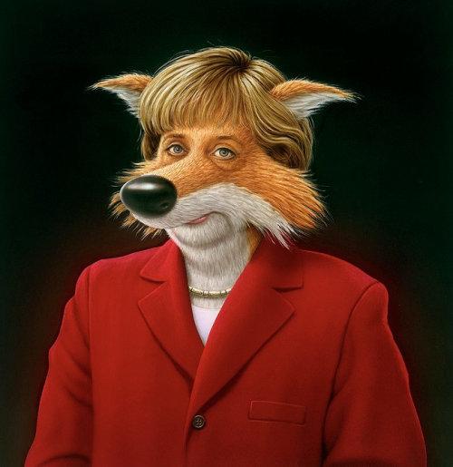 Cartoon&humour wolf face
