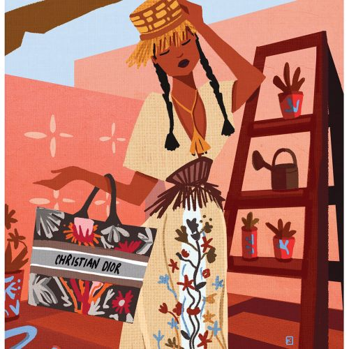 Christian Dior fashion illustration for Harper's Bazaar Mx, Jun/Jul 2020