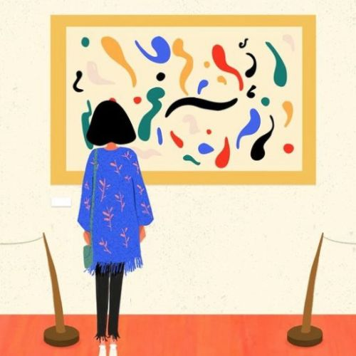 Graphics gif animation of Girl in the Museum