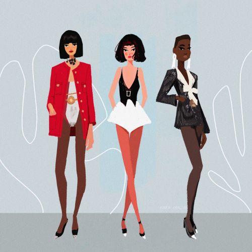 Fashion girls illustration by Karen Gonzalez