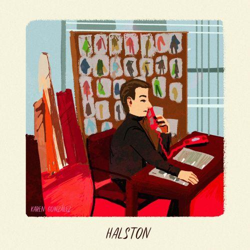Depicting of Halston, American fashion designer