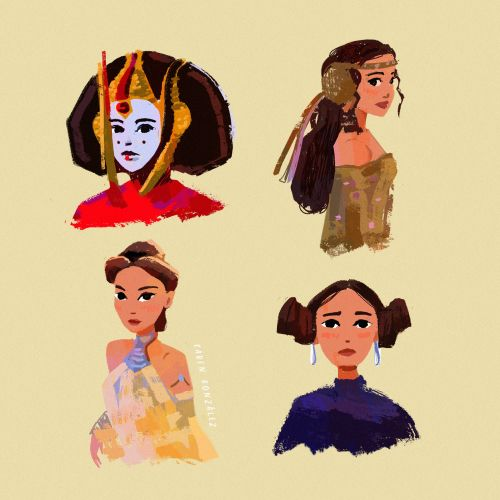 Cartoon portraiture of Padmé Amidala Star Wars characters