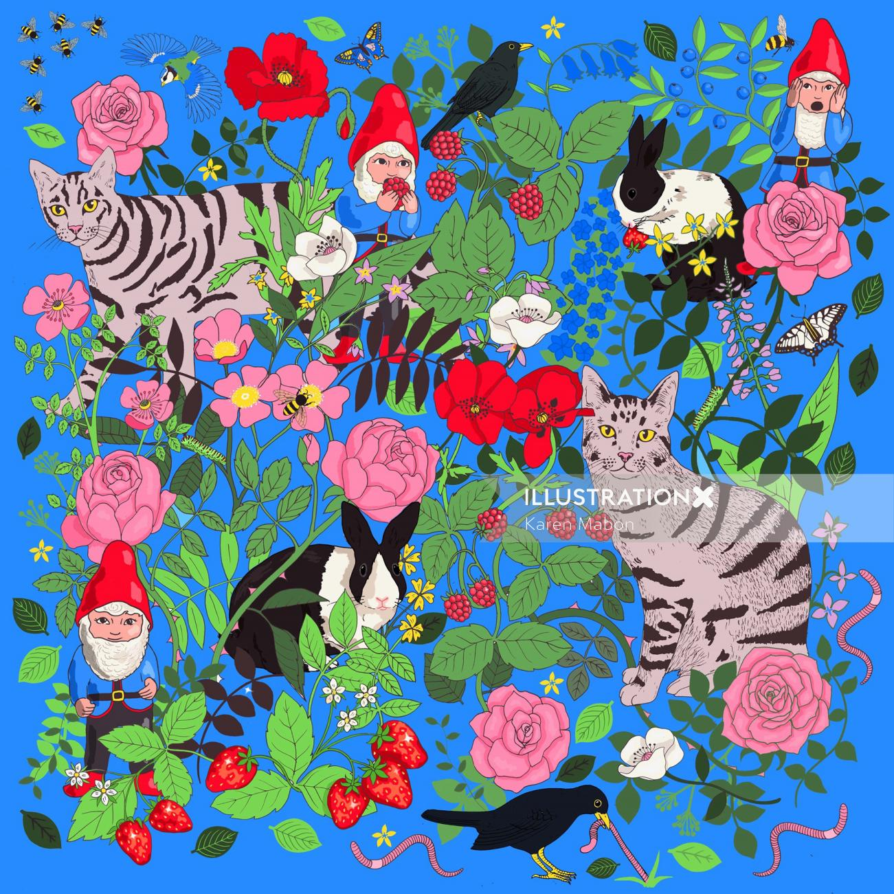 Bright blue Garden gnomes print