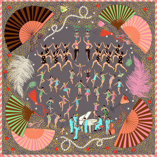 Illustration of Bevy of beautiful dancers, singers and musicians on a silk scarf