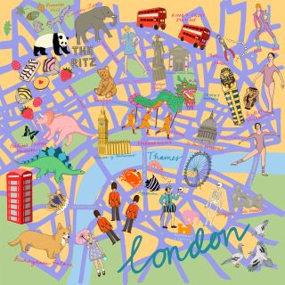 London streets illustration scarf by karen mabon for the National Portrait Gallery Shop