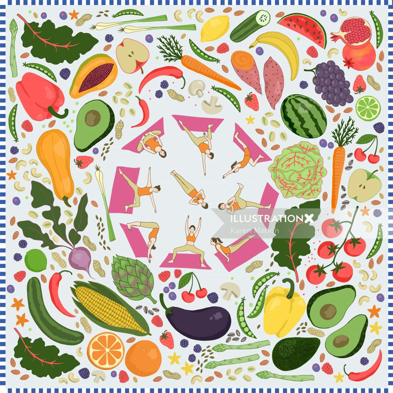 Healthy living and yoga designs printed by Karen Mabon