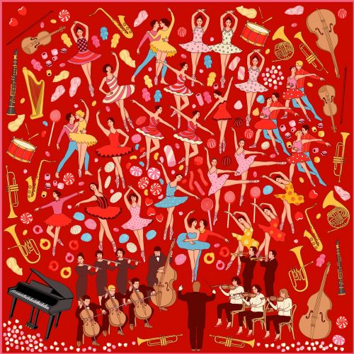 Women's Red 'night At The Theater' Print Silk Scarf