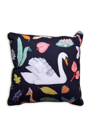 Printed swan's design on cushion by Karen Mabon