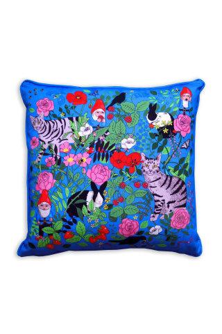 Bright blue Garden gnomes cushion