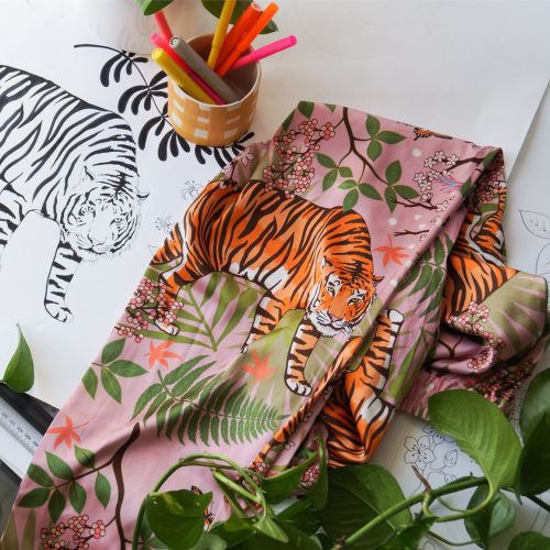 Tiger blossoms silk pyjamas print next to original drawing
