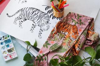 Tiger blossoms silk pyjamas print next to original drawing