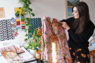Karen Mabon displaying Tiger blossoms silk pyjamas