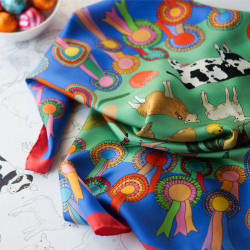 Farm and cattle silk scarf print next to original drawing