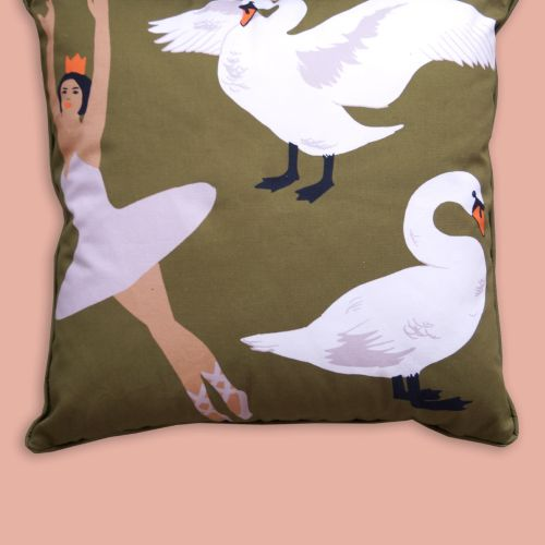 Women's Green 'swan Lake' Woven Wool Scarf by Karen Mabon
