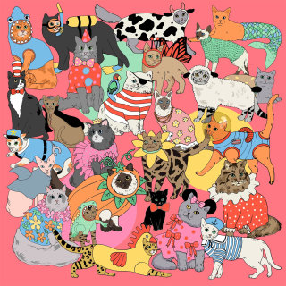 Over sized silk scarf of fancy dressed cats