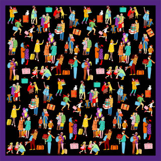 'Home for Christmas' Limited edition silk scarf by karen mabon