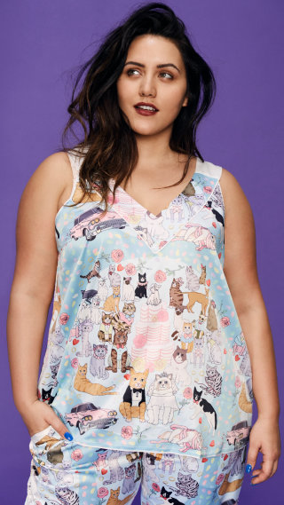Cat wedding sleeveless silk sleepwear paijama set with shorts